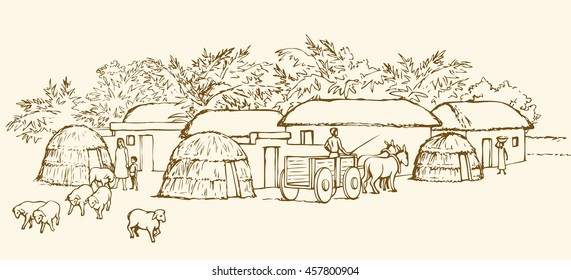 Past biblical babel aged jungle rural tribe adobe. Early arabic peasant slave job scene. Old clay mud abode, round thatch shack barn, donkey wagon. Outline ink hand draw picture sketch in retro style