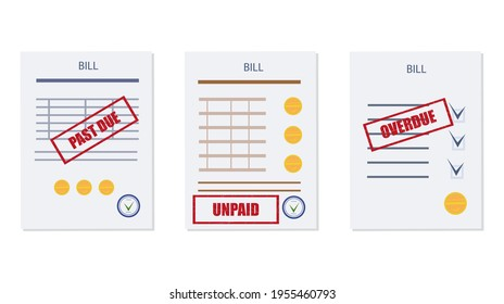 Past due, overdue, or unpaid bill. Set of consumable documents, calculation table with a delay in payment and repayment schedule. Debt or past purchase notice.Financial data, stamp, red mark. Vector