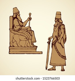 Past famous biblical semitic ruler Sargon in diadem. Ink hand drawn emblem image sketch in retro art cartoon graphic style with space for text on white paper background. Old profile person portrait
