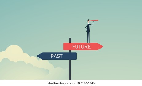 Past and future concept.  Past, and future business alternative. Businessmen confidently chooses to move forward to the future