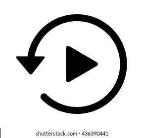 Past video play history arrow flat vector icon for apps and websites