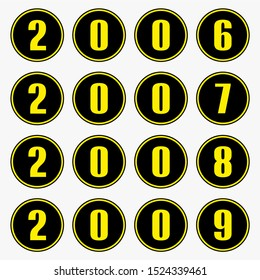 Past years with yellow numbers in a circle shape,2006,2007,2008,2009 vector.
