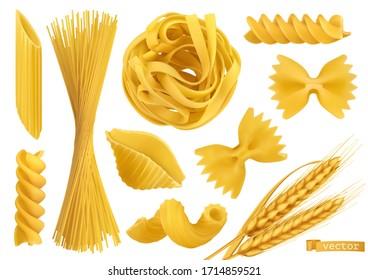 Pasta 3d realistic vector objects set. Penne, fusilli, farfalle, tagliatelle, fettuccine, spaghetti, cavatappi, conchiglie shells and wheat. Food illustration