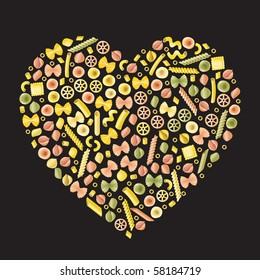 Pasta art - Heart. A selection of different types of pasta in the form of a heart on a black background.
