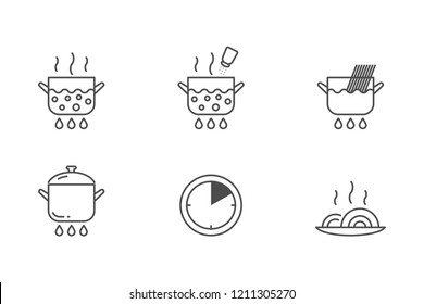 Pasta cooking vector icons