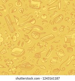Pasta hand drawn seamless pattern