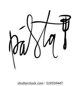 Pasta hand lettering logo design. Vector illustration.