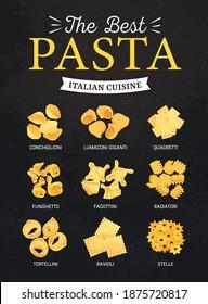 Pasta, Italian cuisine menu restaurant food dishes on vector chalkboard background. Italian cuisine traditional pasta ravioli and tortellini, quadretti and fagottini, funghetto and stelle