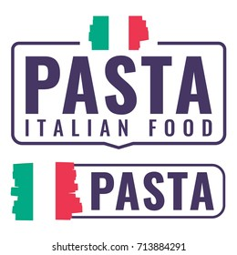 Pasta italian food. Badge with flag, icon, logo set. Vector illustrations on white background. Business concept for cafe or restaurant.