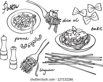 Pasta & Italian food vector set