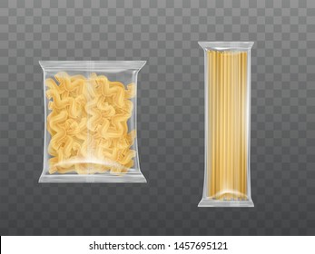 Pasta in limpid package set, dry packaged fusilli macaroni spirals and spaghetti isolated on transparent background, design elements for food advertising. Realistic 3d vector illustration, clip art
