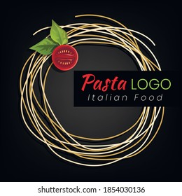 Pasta logo template design for italian restaurant. Vector illustration.