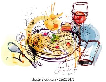 ワイン イタリアンのイラスト素材画像ベクター画像 Shutterstock