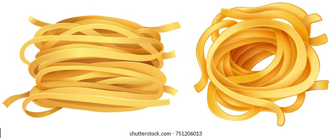 Pasta noodles on white background illustration