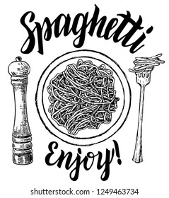 Pasta on fork and plate. Spaghetti Sketch. Culinary Lettering.  Cooking related typography.