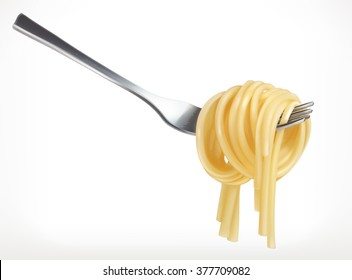 Pasta on fork, vector icon