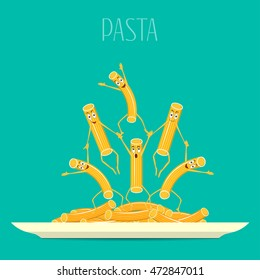 Pasta on a plate vector. Funny, cartoon pasta on a plate. Cartoon characters smiling and laughing. Funny pasta, food vector.