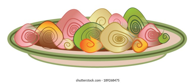 Pasta. A plate of stylized pasta in muted Italian colors.