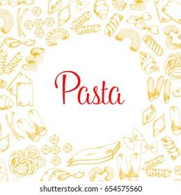Pasta poster for Italian restaurant or cuisine menu template. Vector design of tagliatelle, spaghetti and kanelone, bucatini or farfalle and lasagna, pappardelle macaroni and ravioli pasta