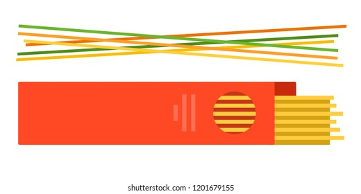 Pasta in a red paper box and colored spaghetti near vector flat material design isolated on white