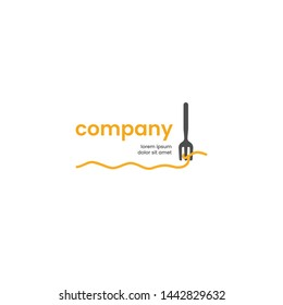 pasta restaurant logo design. illustration of spaghetti with a fork simple vector icon template