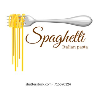 Pasta roll on the fork. Italian pasta with fork silhouette. Black fork with spaghetti on the yellow background Hand holding a fork with spaghetti.