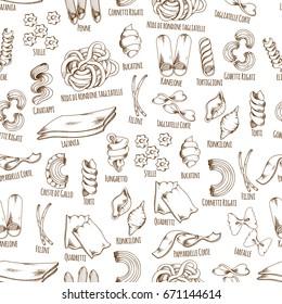 Pasta seamless pattern with names of spaghetti, fettuccine and farfalle macaroni or ravioli. Vector Italian cuisine restaurant ravioli, lasagna or tagliatelle, stelle or funghetto and papardelle pasta