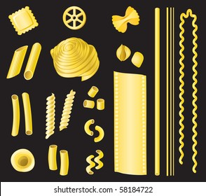 Pasta - a selection of different types of pasta on a black background.