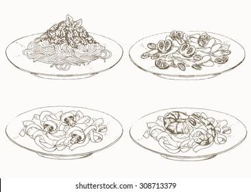 Pasta. Sketches of italian cuisine.
