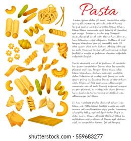 Pasta sorts variety. Vector spaghetti, tagliatelli and ravioli, penne and lasagna, pappardelle,  konkiloni, bucatini and tortiglioni, quadretti and cobetti rigati, creste, gallo, stelle and filini