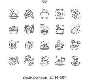 Pasta Well-crafted Pixel Perfect Vector Thin Line Icons 30 2x Grid for Web Graphics and Apps. Simple Minimal Pictogram