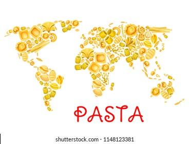 Pasta in world map poster for Italian traditional cuisine design. Vector Italy pasta lasagna or spaghetti and tagliatelle, ravioli or pappardelle and farfalle or fettuccine for restaurant menu
