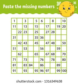 Paste the missing numbers. Handwriting practice. Learning numbers for kids. Education developing worksheet. Activity page. Game for children. Isolated vector illustration in cute cartoon style