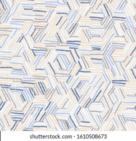 Pastel Abstract Geometric Seamless Pattern hexagon tiling geo graphic motif with linen fabric texture overlay. Spliced stripes in tiles. Repeat vector swatch.