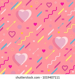 The  pastel background  with hearts  and arrows for Valentine's Day or weddings