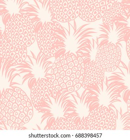 Pastel background with pineapples. Pineapple seamless pattern. Vector illustration.