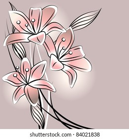 Pastel background with stylized simple contour lilies