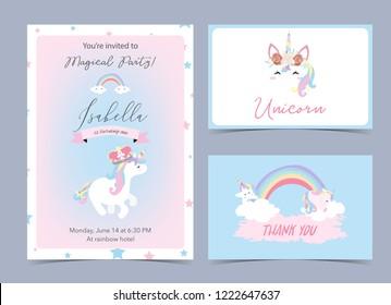 Pastel birthday invitation with unicorn,head,rainbow,frame and star