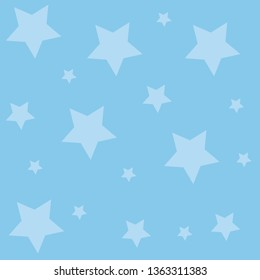 Pastel Blue Background and Different Sizes of Stars Scattered. Five Point Ten Sides Decagon Shape for Wallpaper And Wrapper. Masculine Color for Themed Invitation and Announcement.