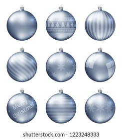 Pastel blue christmas balls isolated on white background. Photorealistic high quality vector set of christmas baubles. Different patterns.