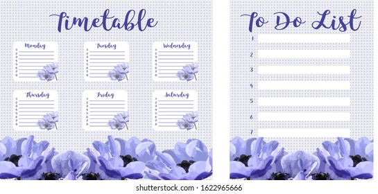 Pastel calendar for the week and to-do list. Schedule of the week, abstract design background. Organizer Information Template. Blank school timetable. An empty to-do list. Planning sheet planning. Sch