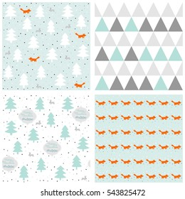 pastel Christmas seamless pattern set with snowflakes animals and trees with retro frames and wishes in English