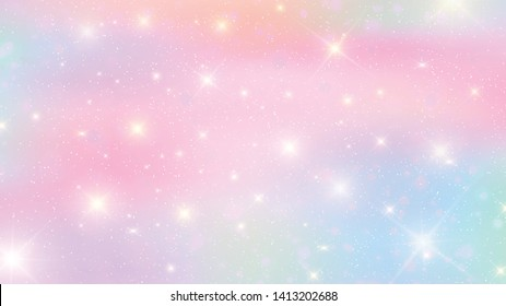Pastel clouds and sky with bokeh . Cute bright candy background .