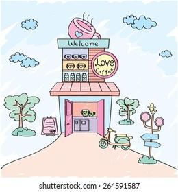 A pastel coffee shop.