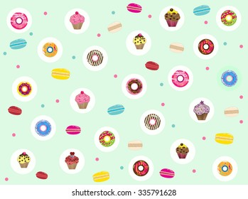 Pastel color background with donuts, macaroons and muffine cupcakes