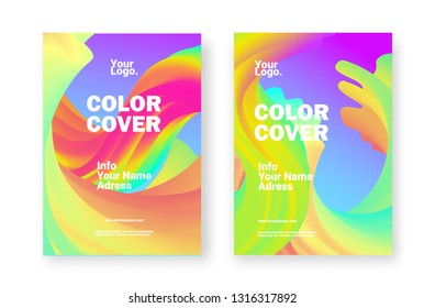 PASTEL COLOR BACKGROUND. Magazine cover. Abstract gradients waves  - Vector