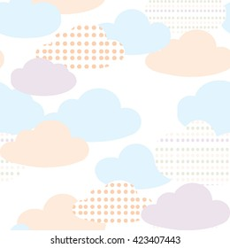 Pastel color clouds seamless pattern vector. Cute baby vector.