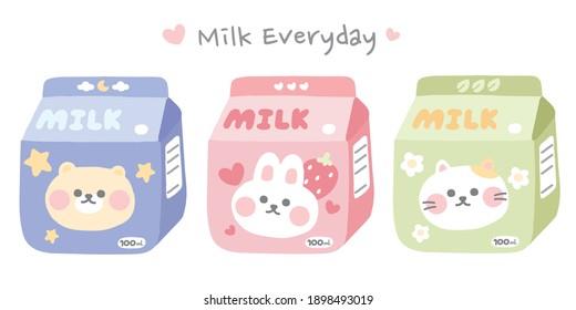 Pastel color.Set of cute cartoon animal on milk box.Bear,rabbit,cat doodle.Milk everyday writing.Kawaii.Character design collection.Hand drawn.Kid graphic.Sticker.Vector.Illustration.