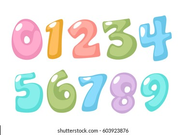 Pastel color kid font numbers