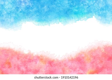 pastel color pink blue water wave abstract on natural grunge watercolor hand paint background, vector illustration